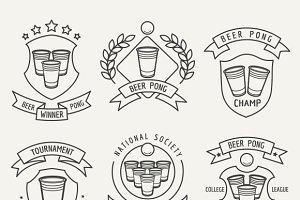 Beer pong line logo set