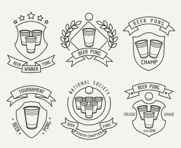 Beer pong line logo set