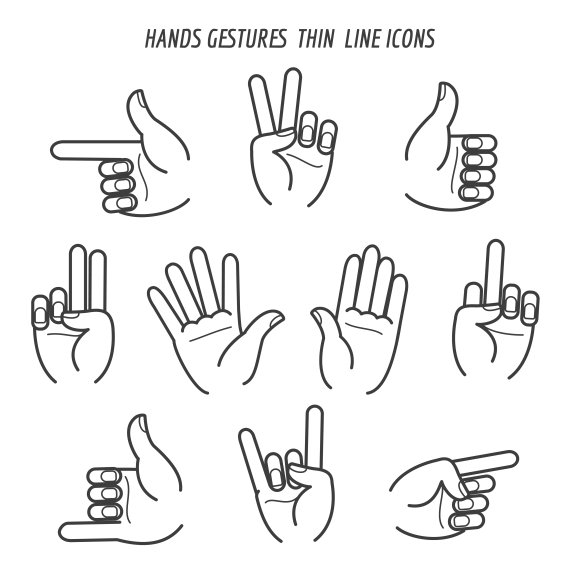 Hands gestures thin line icons