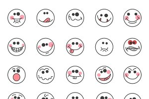 Hand drawn doodle emoticons