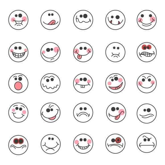 Hand drawn doodle emoticons