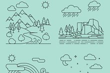 Nature outline landscapes vector