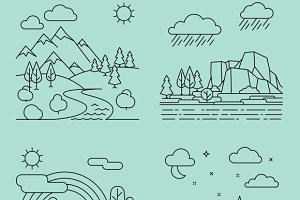 Nature outline landscapes vector
