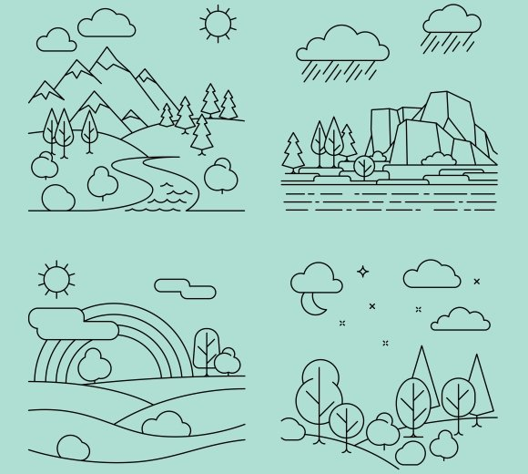 Nature outline landscapes vector in Graphics