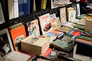 Books on a table at a book market