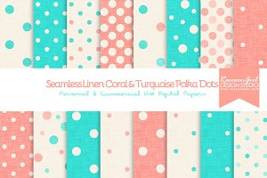 Seamless Linen Coral&Turquoise Dots