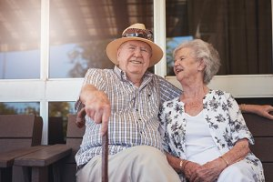 Retired couple taking a break