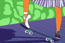 Legs of a ballerina on a skateboard.