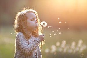 beautiful girl blowing dandelion