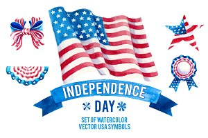 USA Independence day watercolor set