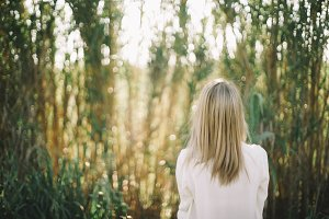 nature forest blonde woman portrait