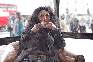 Pretty brunette drinking coffee tea