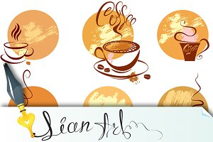 Set of coffee cups icons, stylized s