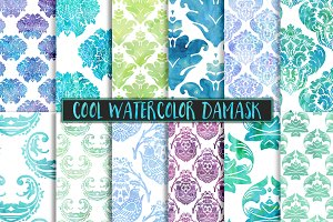 Cool Watercolor Damask Backgrounds