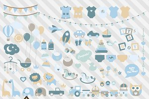 Blue Baby Shower Vector Clipart