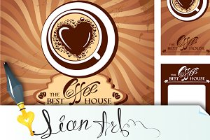 menu and business cards for cafe