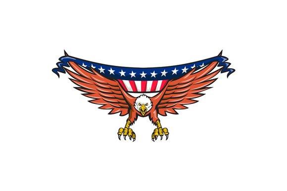 American Eagle Swooping USA Flag  Illustrations  Creative Market