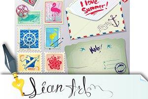 Set of vintage post stamps, postcard