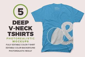 Deep V-neck T-Shirts Mockups