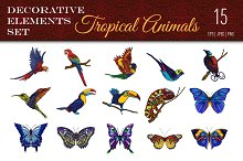 Colored Tropical Animals Set