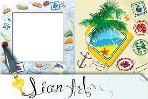 Summer and travel stamps and sticker