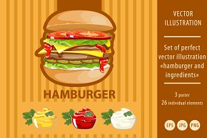 hamburger and ingredients
