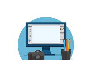 Design Graphic Work Space Flat