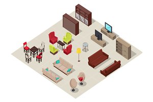 Furniture Set Isometric Design