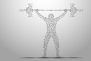 weightlifter silhouette wireframe