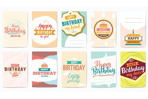 Happy Birthday greeting cards set.