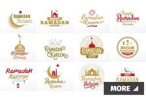 Ramadan kareem. Typographic set.