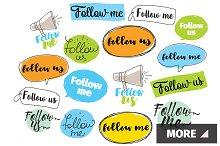 Follow me, follow us labels