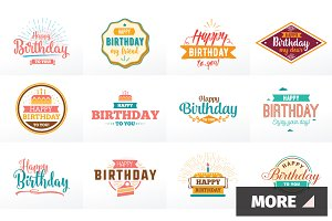 Happy Birthday typographic set.