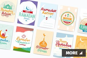 Ramadan kareem cards set