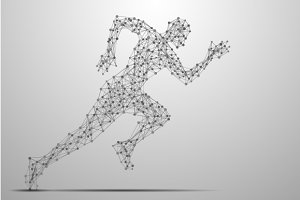 running man abstract gray