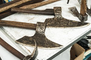 Old steel and wood axes
