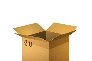 Realistic open cardboard box
