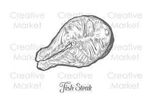 Fish salmon steak hand drawn vector