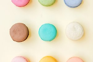 Sweet colorful French macaroon
