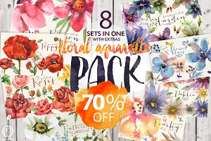 70% OFF. 8 sets of floral watercolor