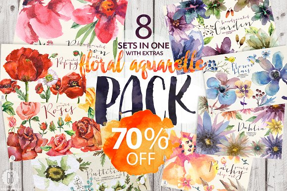 70% OFF. 8 sets of floral watercolor - Illustrations