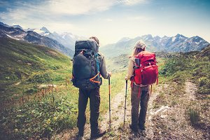 Couple Travelers mountaineering