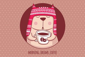 Illustration Morning. Dreams. Coffee