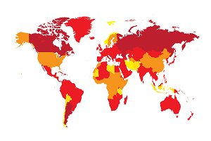 World map flat red