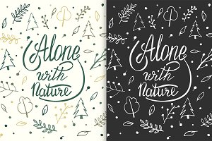Alone with nature. Hand lettering