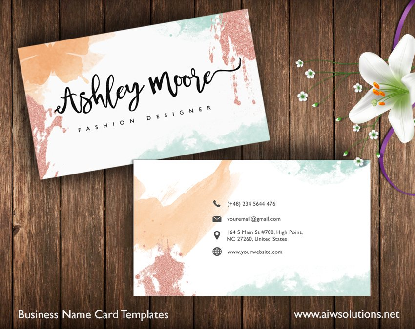Watercolor name card business card templates creative market flashek Image collections