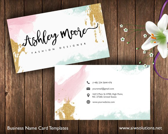 watercolor name card business card templates creative market
