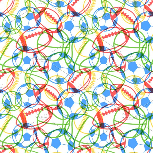 Colourful Multiple Sports Balls Patterns Creative Market