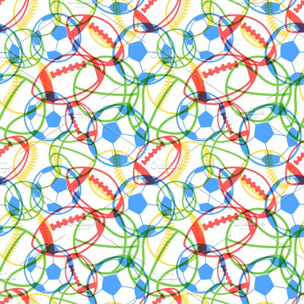 Colourful Multiple Sports Balls Graphic Patterns Creative Market