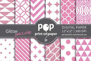 Glitter Pink & White - digital paper